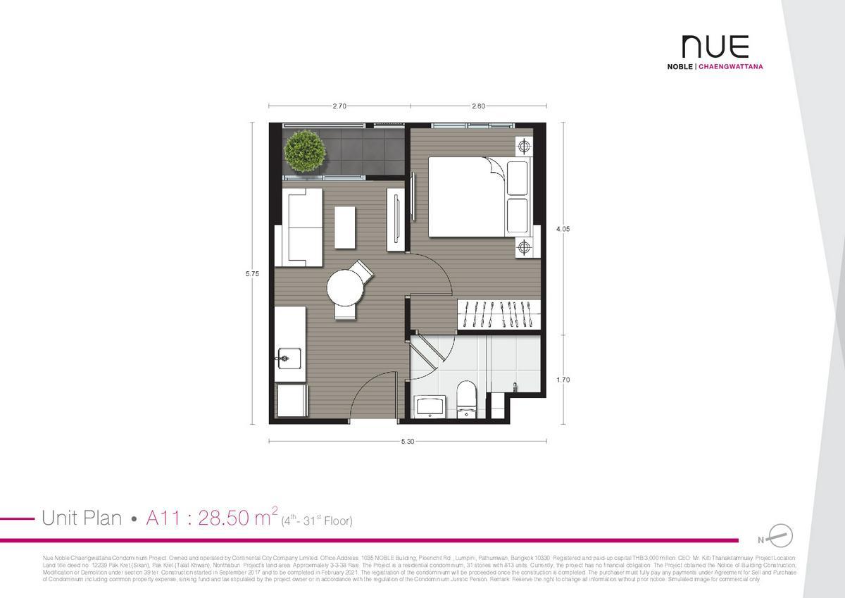 Noble Nue - Plan 28.5 Sq.m.